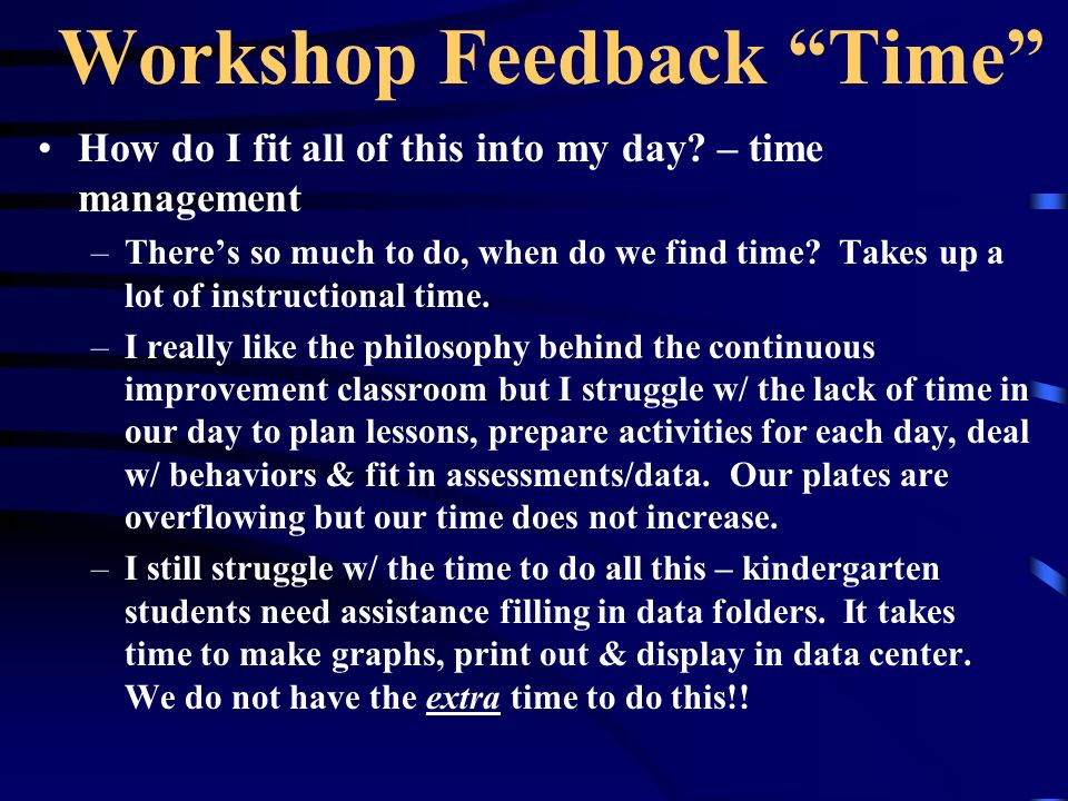 Workshop Feedback Time How do I fit all of this into my day? – time management –Theres so much to do, when do we find time? Takes up a lot of instruct