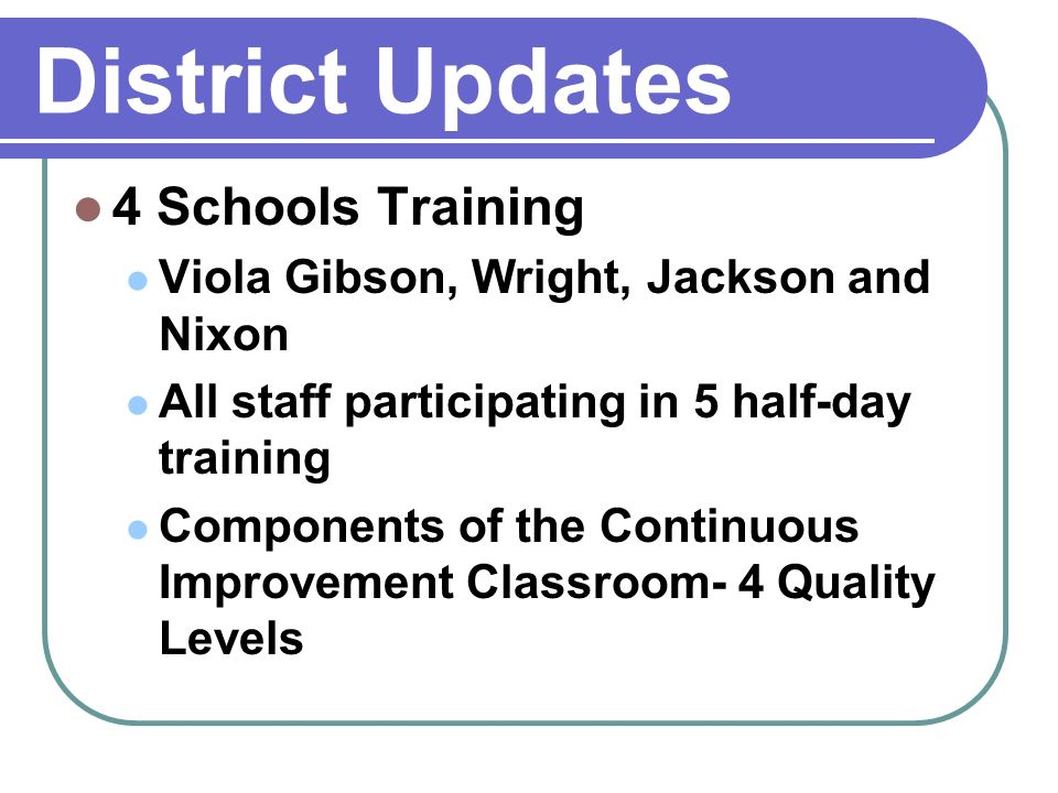 4 Schools Training Viola Gibson, Wright, Jackson and Nixon All staff participating in 5 half-day training Components of the Continuous Improvement Classroom- 4 Quality Levels