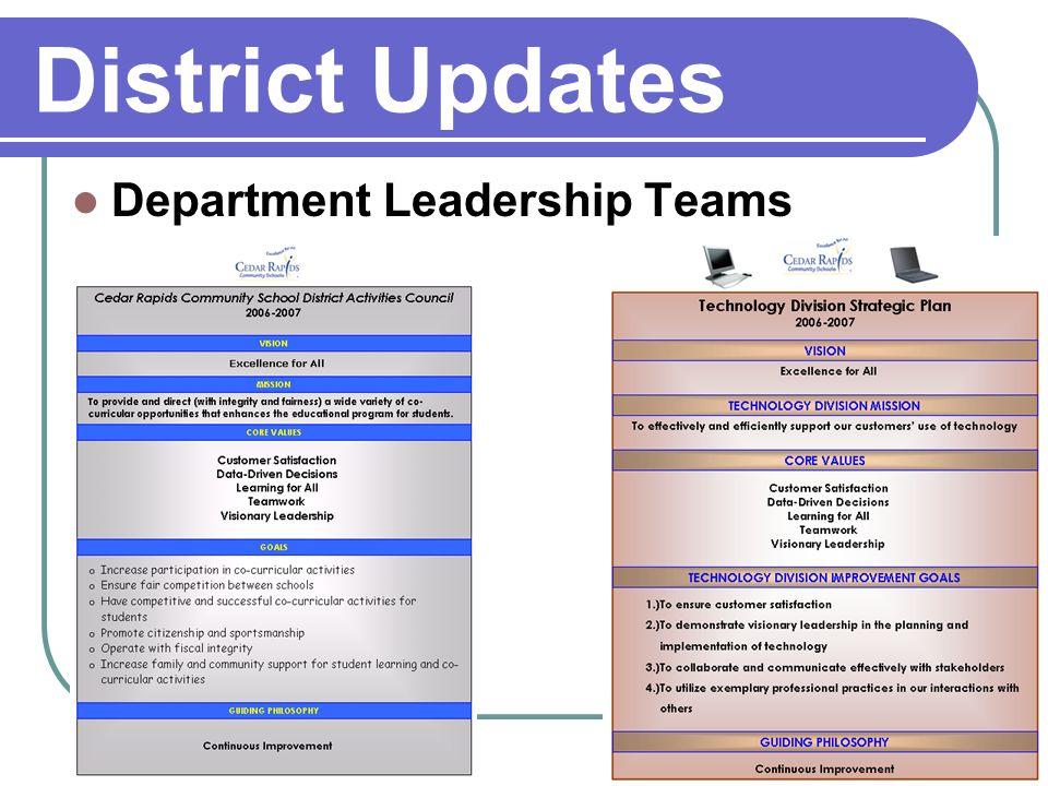 District Updates Department Leadership Teams