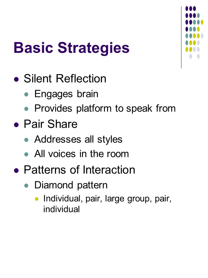 Basic Strategies Silent Reflection Engages brain Provides platform to speak from Pair Share Addresses all styles All voices in the room Patterns of Interaction Diamond pattern Individual, pair, large group, pair, individual