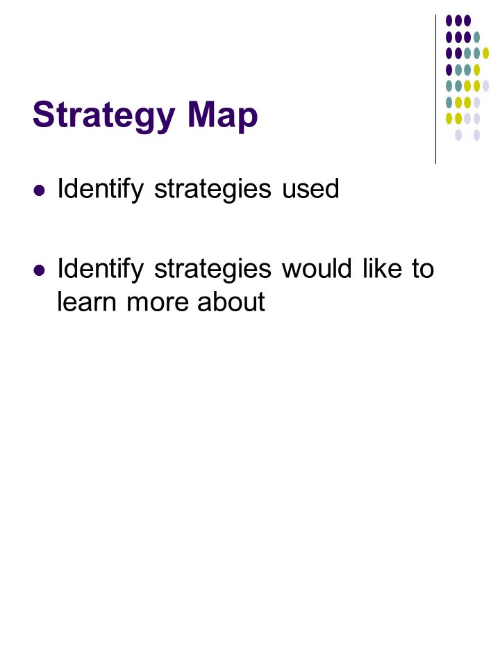 Strategy Map Identify strategies used Identify strategies would like to learn more about