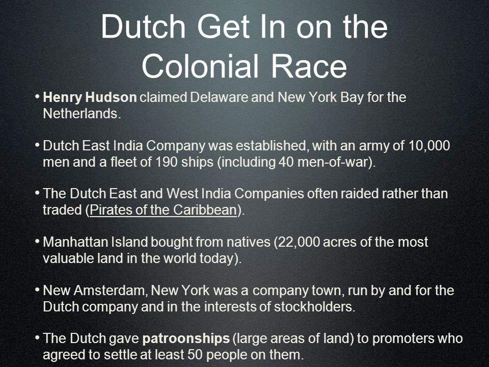 Dutch Get In on the Colonial Race Henry Hudson claimed Delaware and New York Bay for the Netherlands.