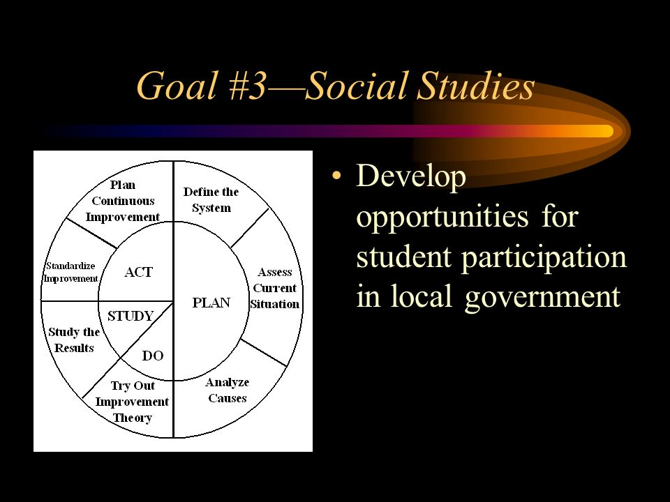 Goal #3Social Studies Develop opportunities for student participation in local government