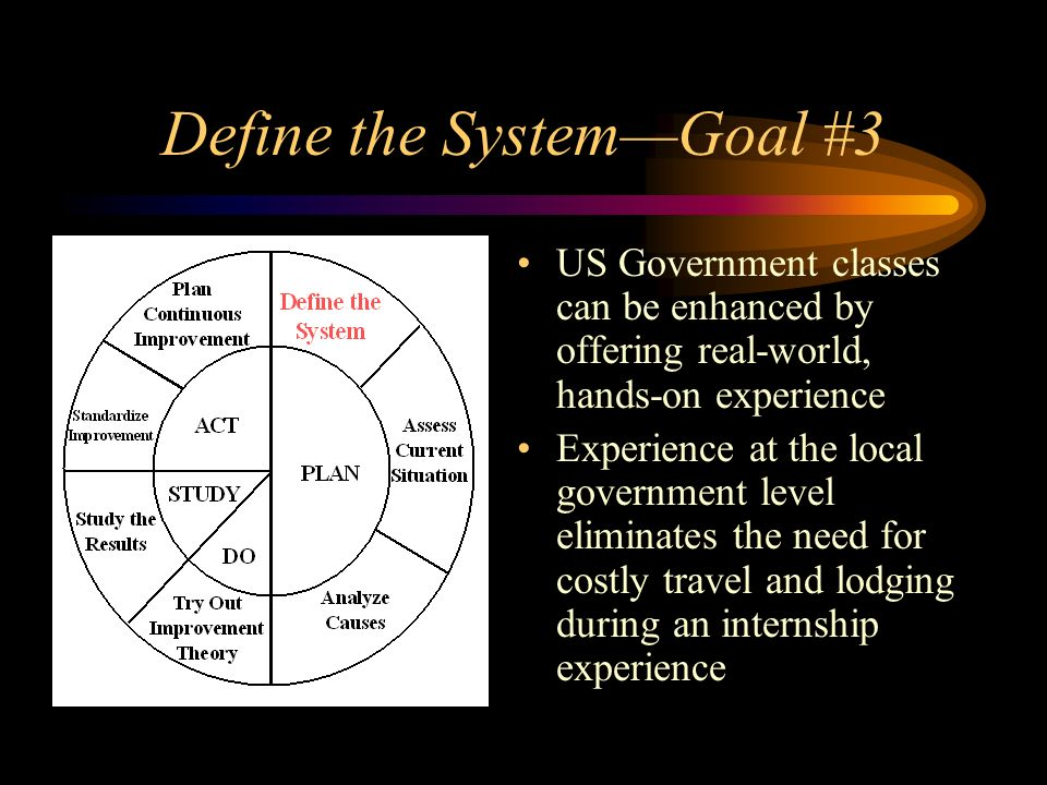 Define the SystemGoal #3 US Government classes can be enhanced by offering real-world, hands-on experience Experience at the local government level eliminates the need for costly travel and lodging during an internship experience