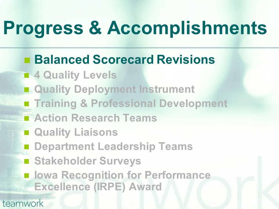 Progress & Accomplishments Balanced Scorecard Revisions 4 Quality Levels Quality Deployment Instrument Training & Professional Development Action Research Teams Quality Liaisons Department Leadership Teams Stakeholder Surveys Iowa Recognition for Performance Excellence (IRPE) Award