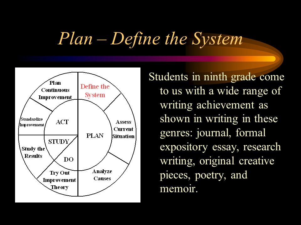 Plan – Define the System Students in ninth grade come to us with a wide range of writing achievement as shown in writing in these genres: journal, for