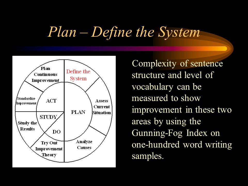 Plan – Define the System Complexity of sentence structure and level of vocabulary can be measured to show improvement in these two areas by using the