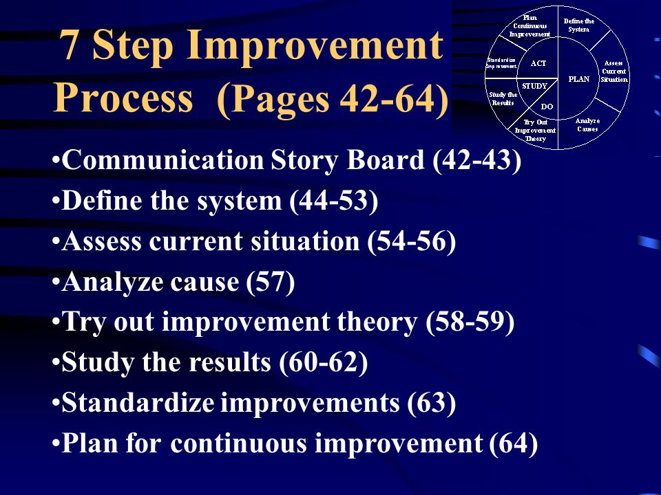 7 Step Improvement Process ( Pages 42-64) Communication Story Board (42-43) Define the system (44-53) Assess current situation (54-56) Analyze cause (57) Try out improvement theory (58-59) Study the results (60-62) Standardize improvements (63) Plan for continuous improvement (64)