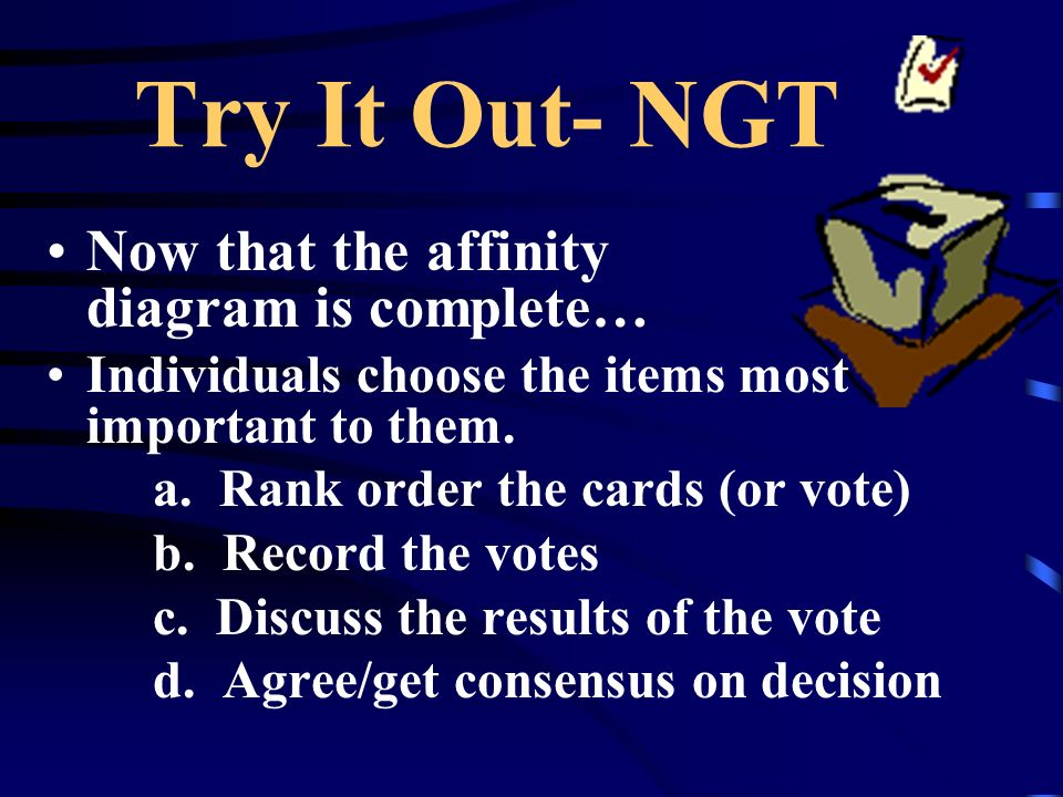 Try It Out- NGT Now that the affinity diagram is complete… Individuals choose the items most important to them.
