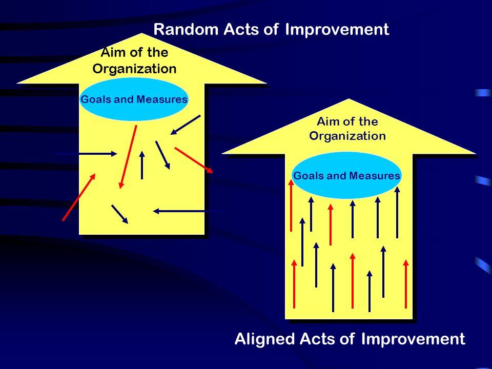 Random Acts of Improvement Aim of the Organization Goals and Measures Aim of the Organization Aligned Acts of Improvement Goals and Measures