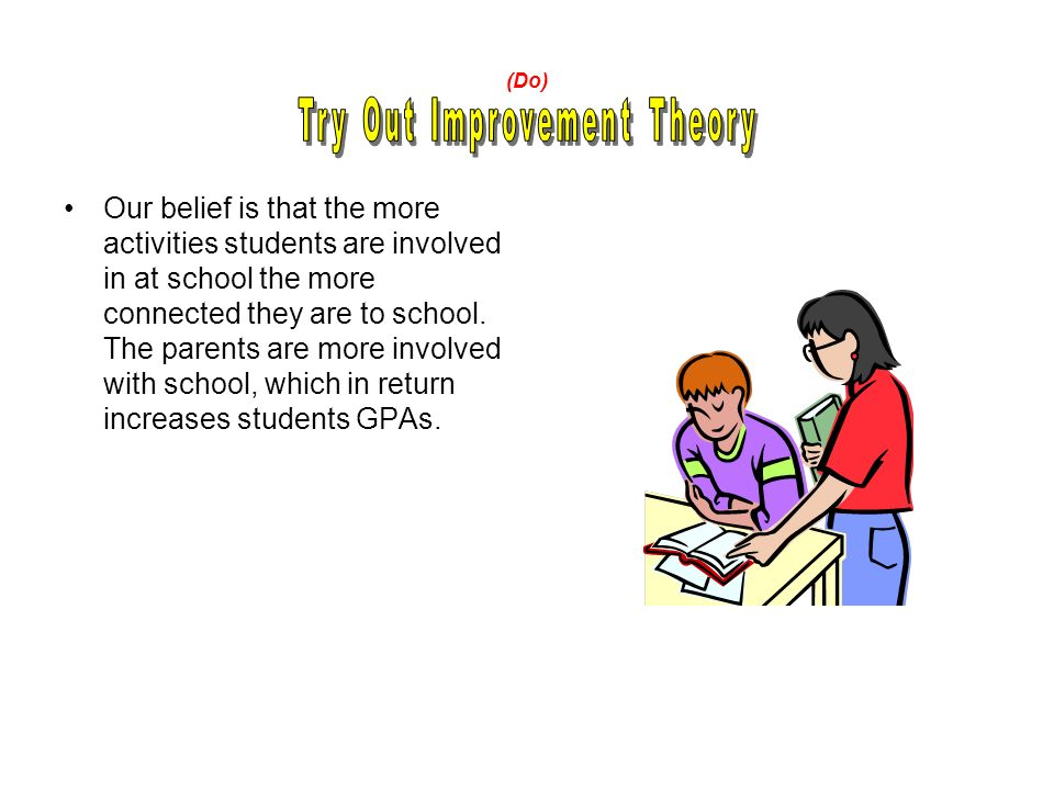 (Do) Our belief is that the more activities students are involved in at school the more connected they are to school.