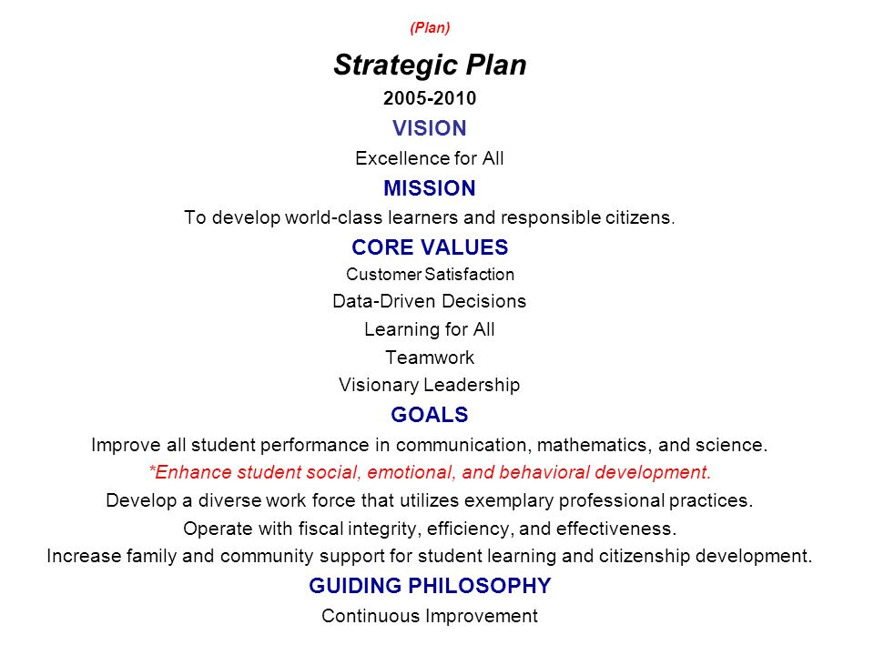 (Plan) Strategic Plan 2005-2010 VISION Excellence for All MISSION To develop world-class learners and responsible citizens.