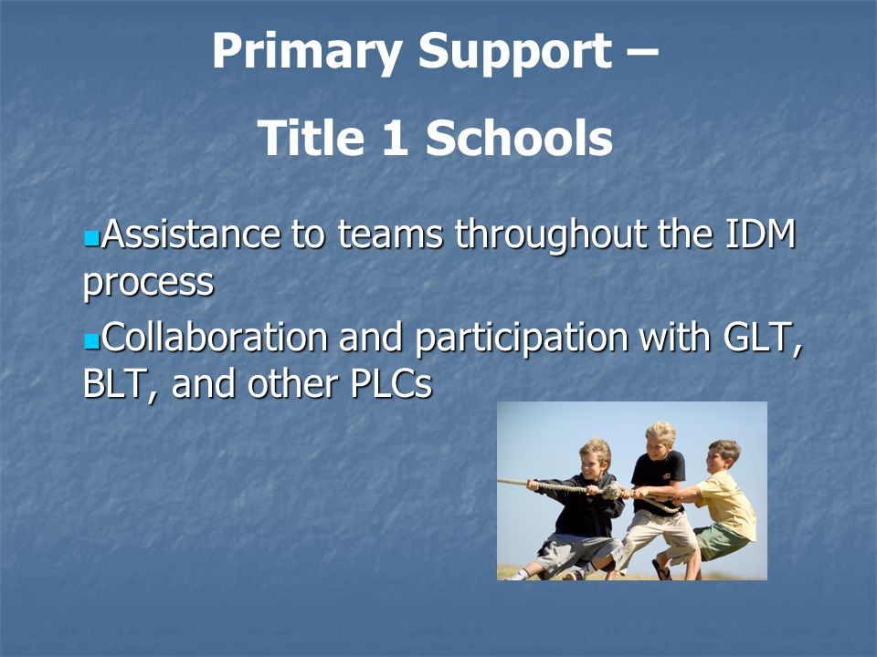 Assistance to teams throughout the IDM process Assistance to teams throughout the IDM process Collaboration and participation with GLT, BLT, and other