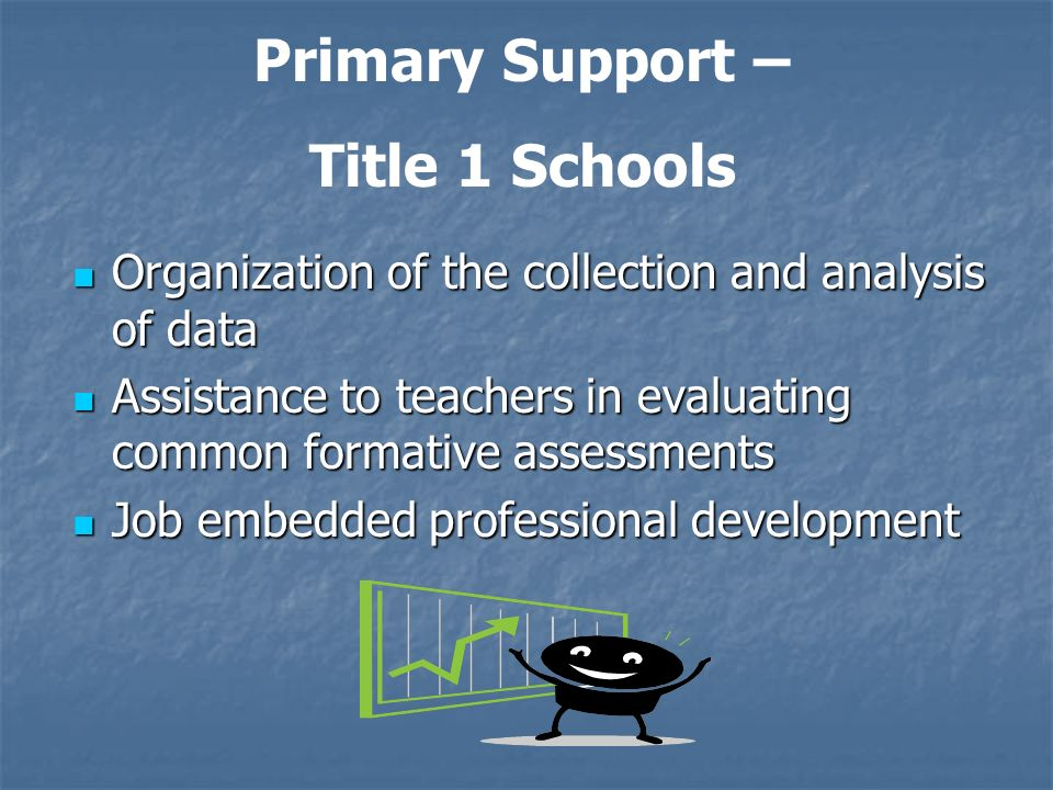 Organization of the collection and analysis of data Organization of the collection and analysis of data Assistance to teachers in evaluating common fo