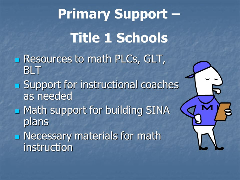 Resources to math PLCs, GLT, BLT Resources to math PLCs, GLT, BLT Support for instructional coaches as needed Support for instructional coaches as needed Math support for building SINA plans Math support for building SINA plans Necessary materials for math instruction Necessary materials for math instruction Primary Support – Title 1 Schools