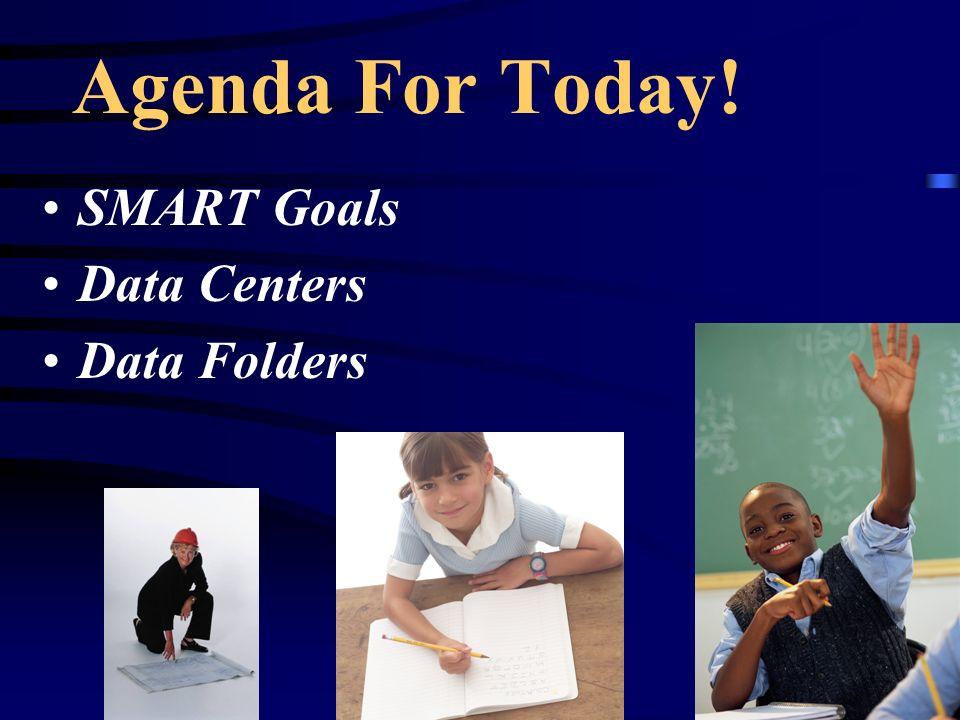 Agenda For Today! SMART Goals Data Centers Data Folders