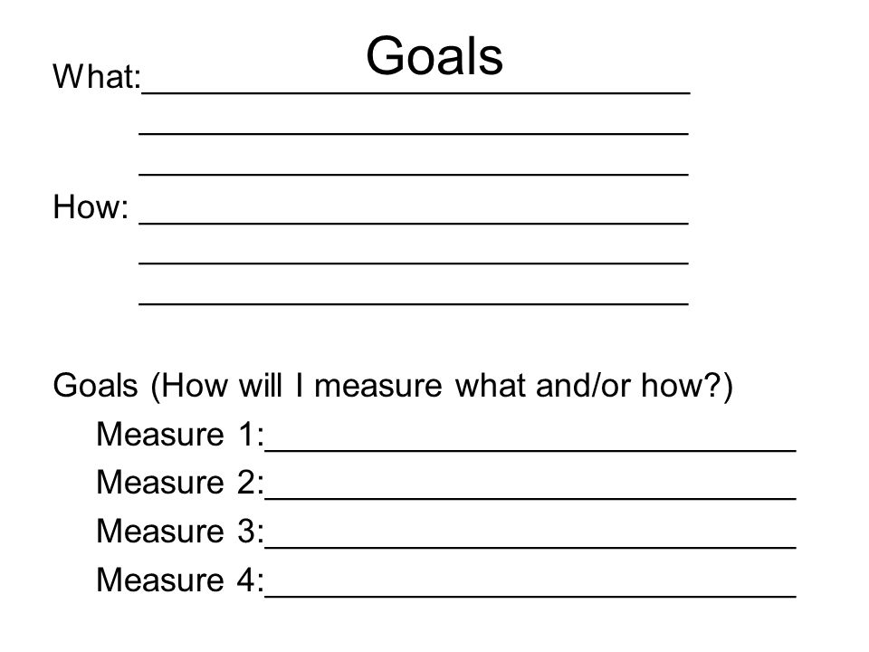 Goals What:_____________________________ _____________________________ _____________________________ How:_____________________________ _____________________________ _____________________________ Goals (How will I measure what and/or how?) Measure 1:____________________________ Measure 2:____________________________ Measure 3:____________________________ Measure 4:____________________________