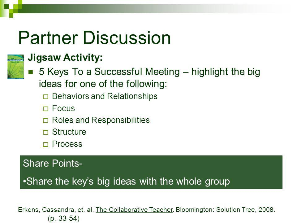 Partner Discussion Jigsaw Activity: 5 Keys To a Successful Meeting – highlight the big ideas for one of the following: Behaviors and Relationships Focus Roles and Responsibilities Structure Process Share Points- Share the keys big ideas with the whole group Erkens, Cassandra, et.
