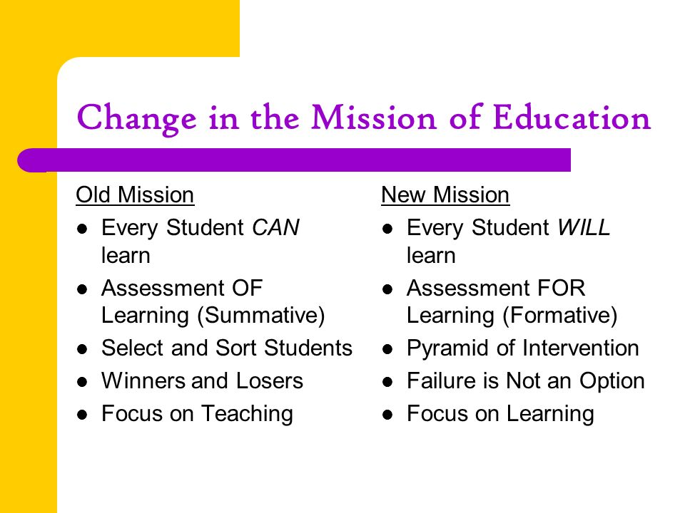 Change in the Mission of Education Old Mission Every Student CAN learn Assessment OF Learning (Summative) Select and Sort Students Winners and Losers Focus on Teaching New Mission Every Student WILL learn Assessment FOR Learning (Formative) Pyramid of Intervention Failure is Not an Option Focus on Learning