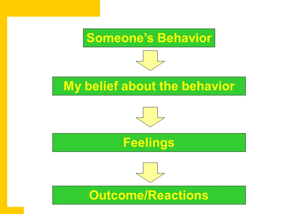 Someones Behavior My belief about the behavior Feelings Outcome/Reactions