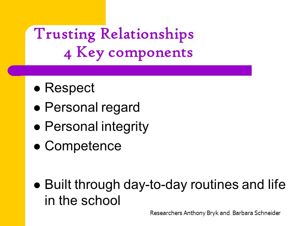 Trusting Relationships 4 Key components Respect Personal regard Personal integrity Competence Built through day-to-day routines and life in the school Researchers Anthony Bryk and Barbara Schneider