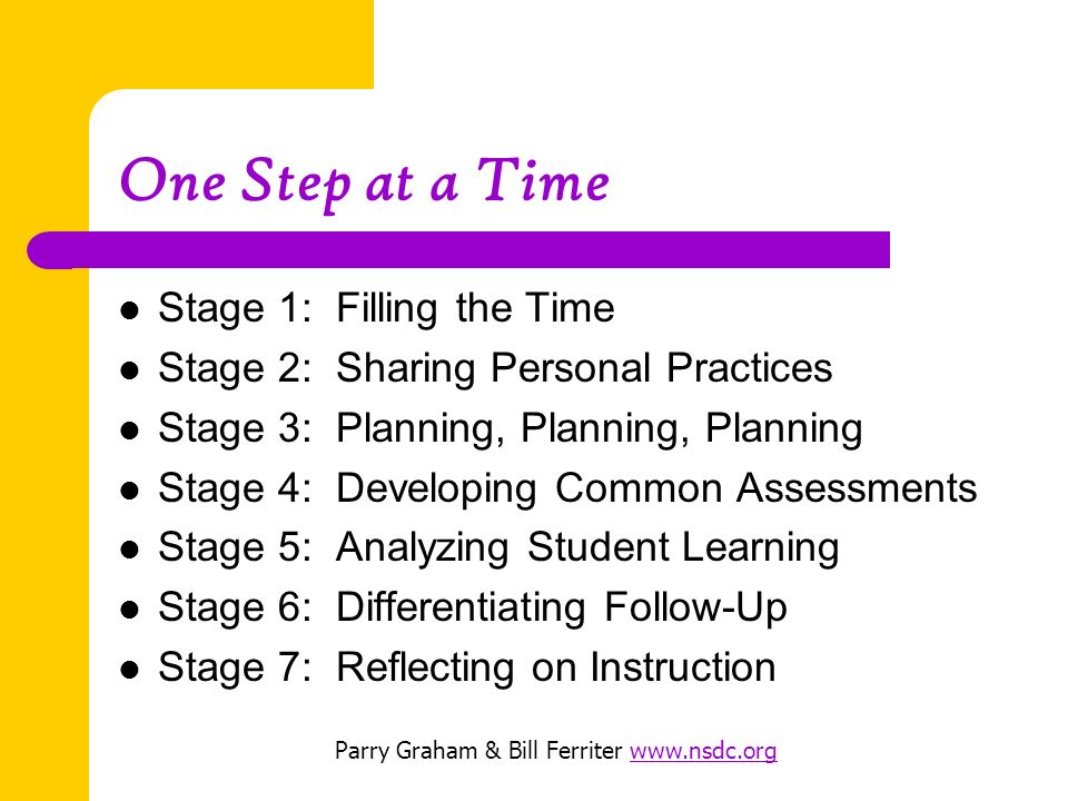 One Step at a Time Stage 1: Filling the Time Stage 2: Sharing Personal Practices Stage 3: Planning, Planning, Planning Stage 4: Developing Common Assessments Stage 5: Analyzing Student Learning Stage 6: Differentiating Follow-Up Stage 7: Reflecting on Instruction Parry Graham & Bill Ferriter www.nsdc.orgwww.nsdc.org
