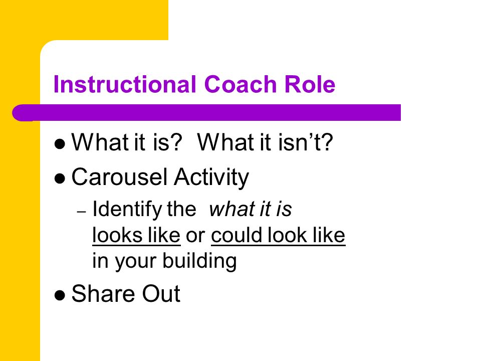 Instructional Coach Role What it is.What it isnt.