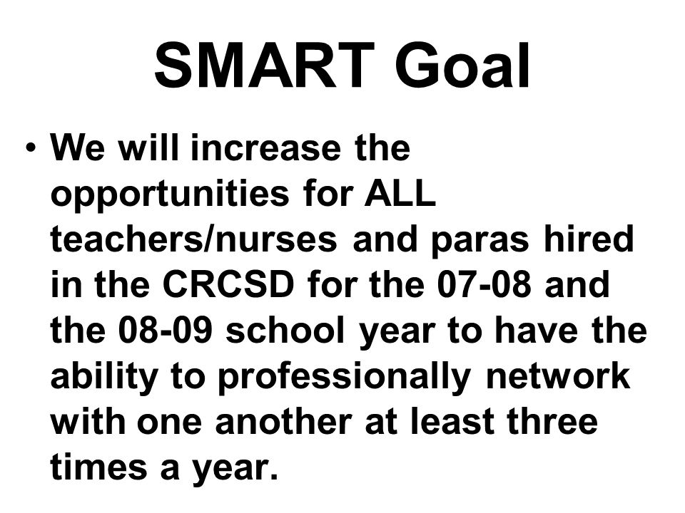 SMART Goal We will increase the opportunities for ALL teachers/nurses and paras hired in the CRCSD for the 07-08 and the 08-09 school year to have the ability to professionally network with one another at least three times a year.