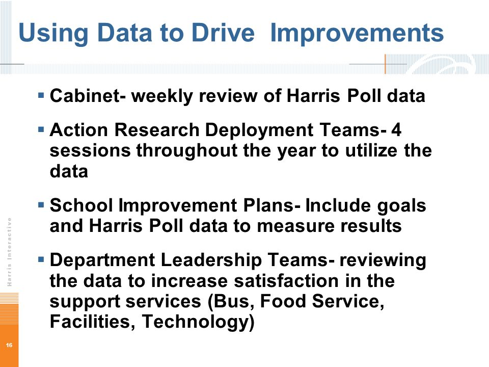 16 Using Data to Drive Improvements Cabinet- weekly review of Harris Poll data Action Research Deployment Teams- 4 sessions throughout the year to utilize the data School Improvement Plans- Include goals and Harris Poll data to measure results Department Leadership Teams- reviewing the data to increase satisfaction in the support services (Bus, Food Service, Facilities, Technology)