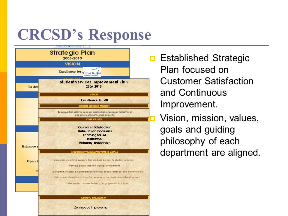CRCSDs Response Established Strategic Plan focused on Customer Satisfaction and Continuous Improvement. Vision, mission, values, goals and guiding phi