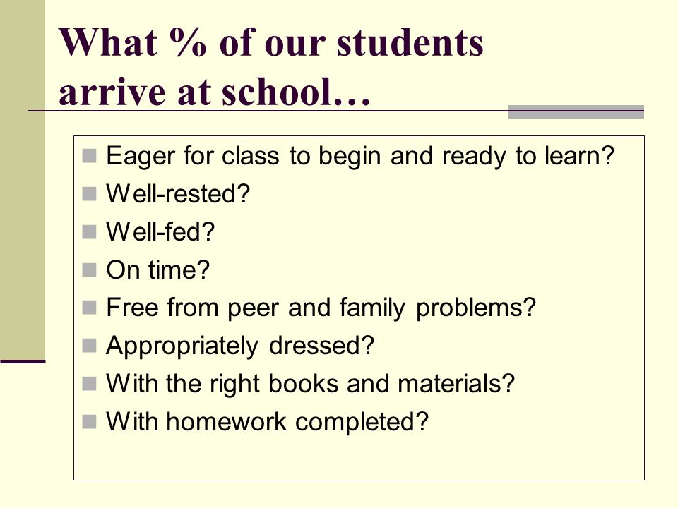What % of our students arrive at school… Eager for class to begin and ready to learn? Well-rested? Well-fed? On time? Free from peer and family proble