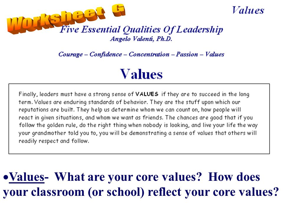 Values- What are your core values? How does your classroom (or school) reflect your core values?