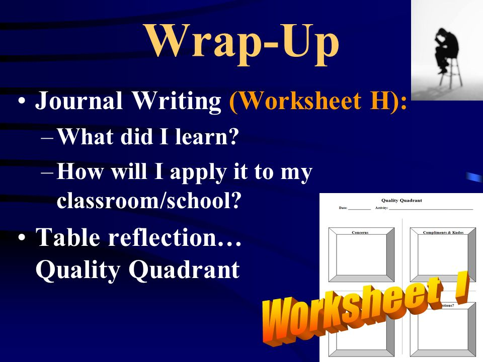 Wrap-Up Journal Writing (Worksheet H): –What did I learn? –How will I apply it to my classroom/school? Table reflection… Quality Quadrant