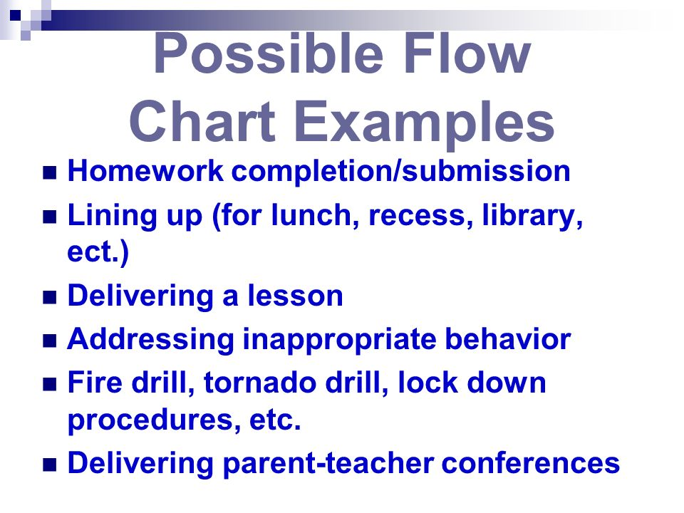 Possible Flow Chart Examples Homework completion/submission Lining up (for lunch, recess, library, ect.) Delivering a lesson Addressing inappropriate behavior Fire drill, tornado drill, lock down procedures, etc.