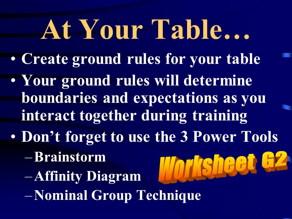 At Your Table… Create ground rules for your table Your ground rules will determine boundaries and expectations as you interact together during trainin