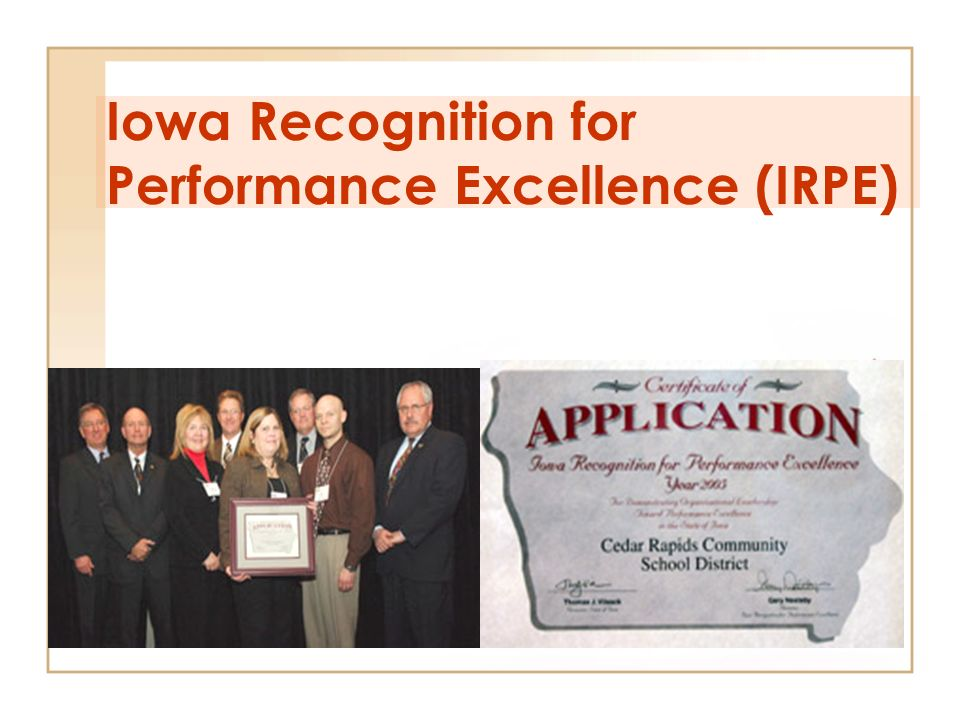 Iowa Recognition for Performance Excellence (IRPE)