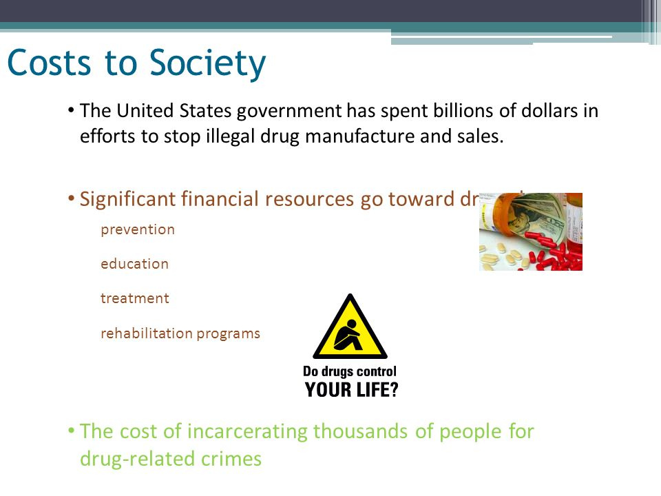 Slide 17 of 32 Costs to Society The United States government has spent billions of dollars in efforts to stop illegal drug manufacture and sales. Sign