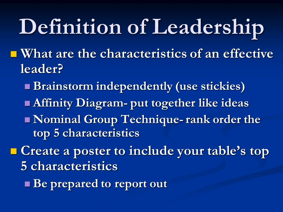 Definition of Leadership What are the characteristics of an effective leader? What are the characteristics of an effective leader? Brainstorm independ