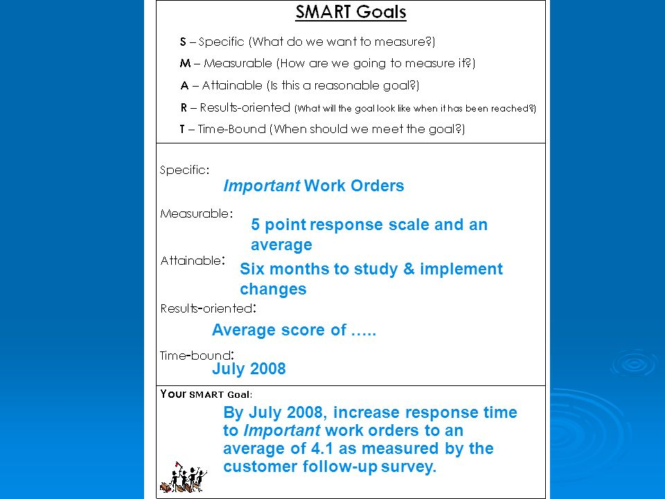 Important Work Orders 5 point response scale and an average Six months to study & implement changes Average score of ….. July 2008 By July 2008, incre