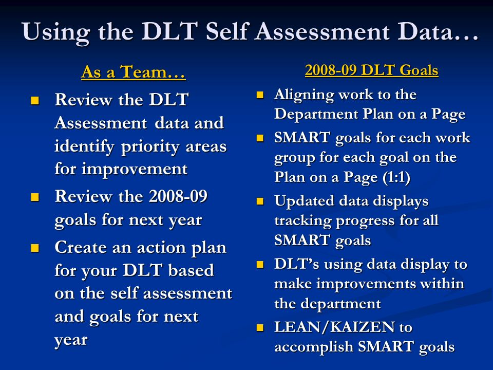 Using the DLT Self Assessment Data… As a Team… Review the DLT Assessment data and identify priority areas for improvement Review the DLT Assessment da