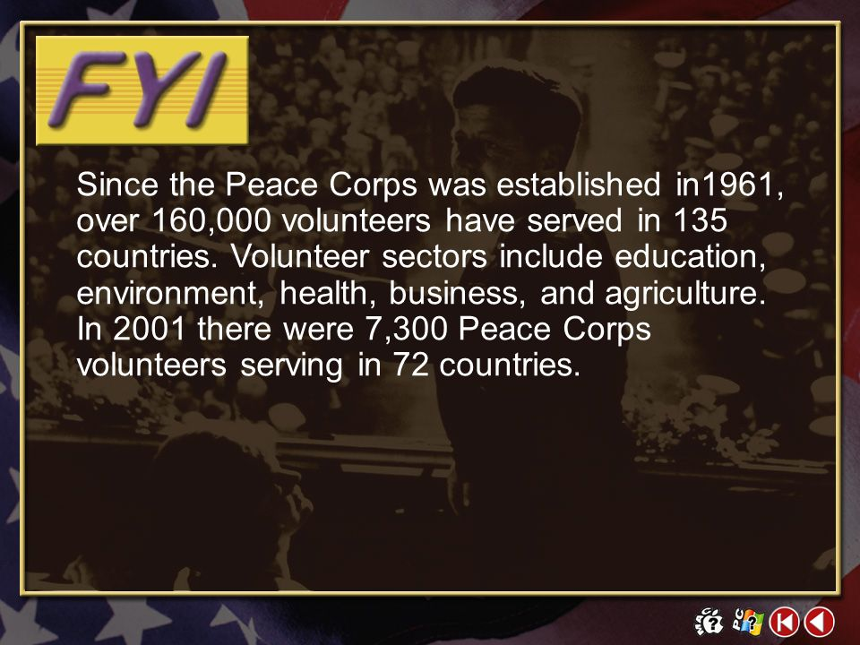 FYI Contents 2 Peace Corps Manned Space Programs Berlin Wall Click on a hyperlink to view the corresponding slide.