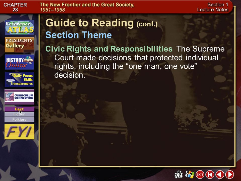 Section 1-2 Guide to Reading (cont.) Reading Strategy Click the mouse button or press the Space Bar to display the information. Categorizing As you re