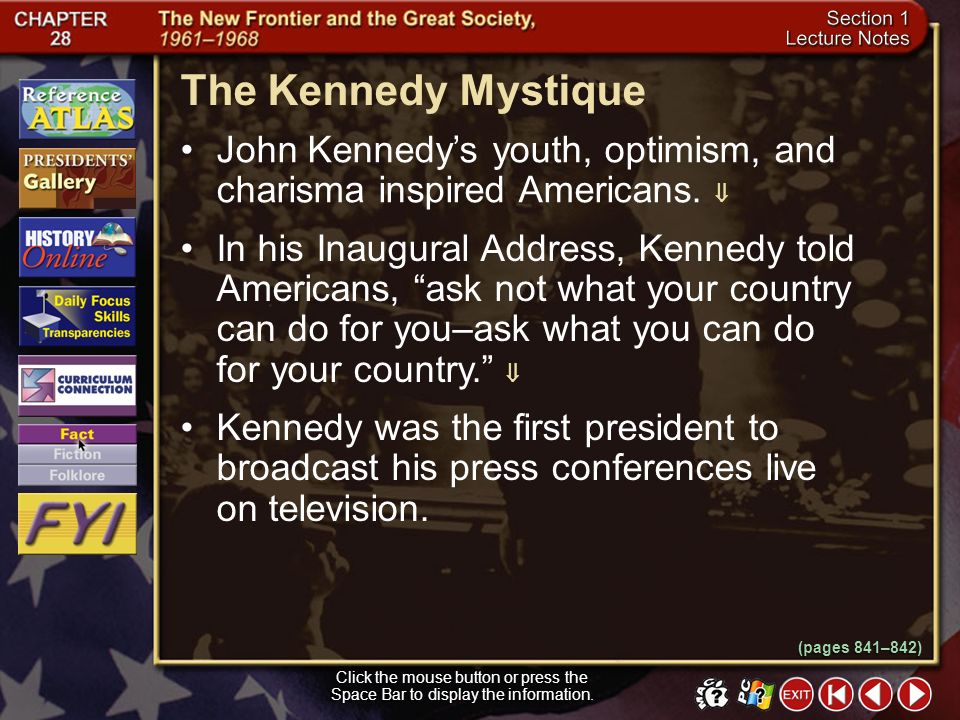 Section 1-8 How did Kennedy and Nixon stand on the two main issues of the 1960 presidential election? The campaign centered on the economy and the Col