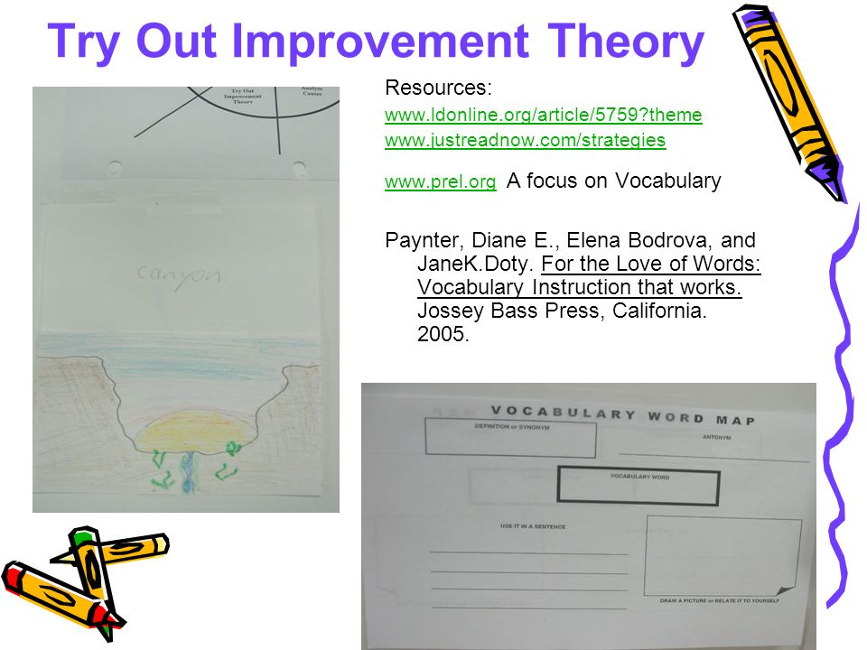 Try Out Improvement Theory Resources:   theme A focus on Vocabulary Paynter, Diane E., Elena Bodrova, and JaneK.Doty.