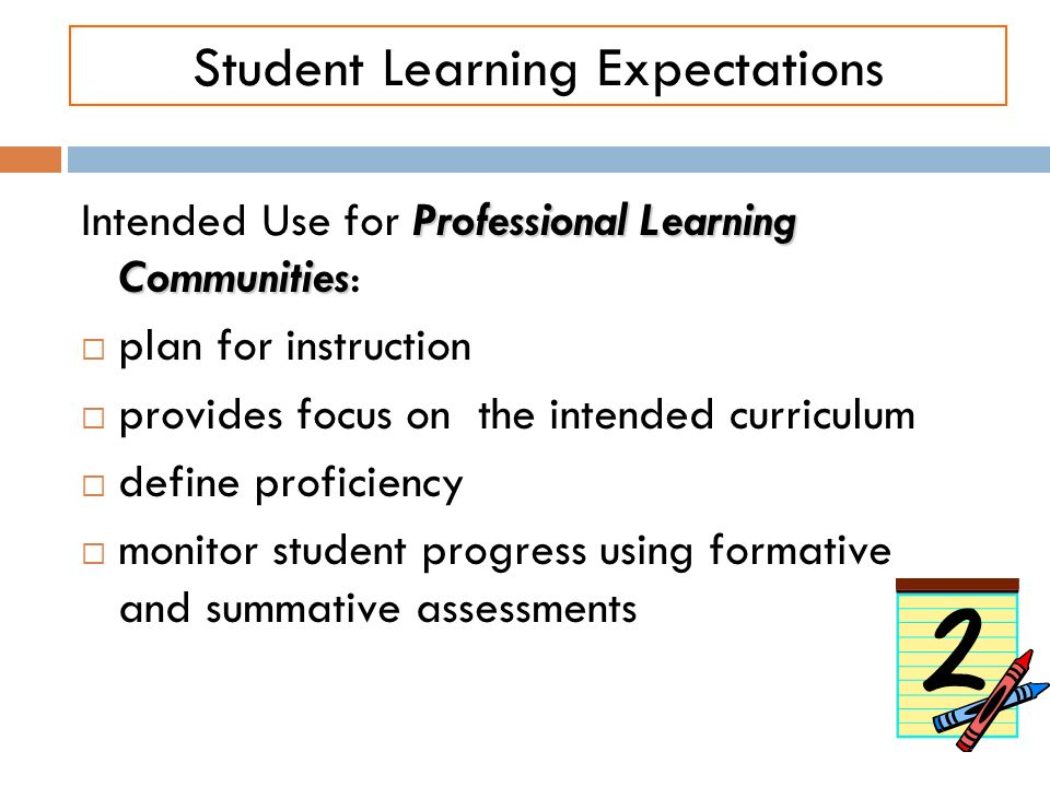 Student Learning Expectations Professional Learning Communities Intended Use for Professional Learning Communities: plan for instruction provides focu