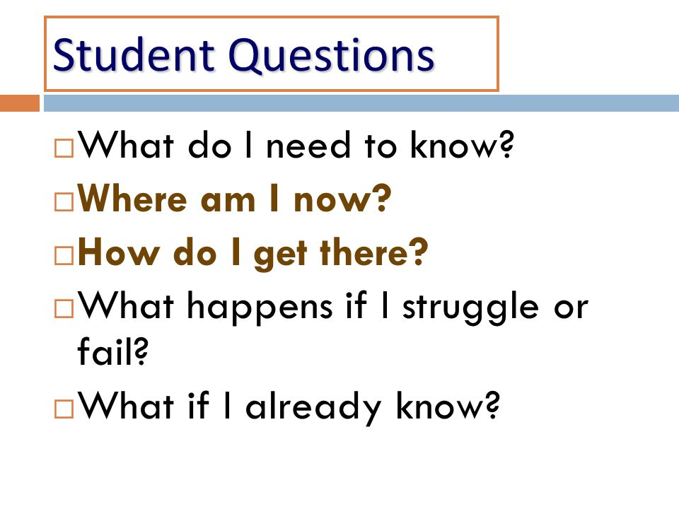 Student Questions What do I need to know? Where am I now? How do I get there? What happens if I struggle or fail? What if I already know?