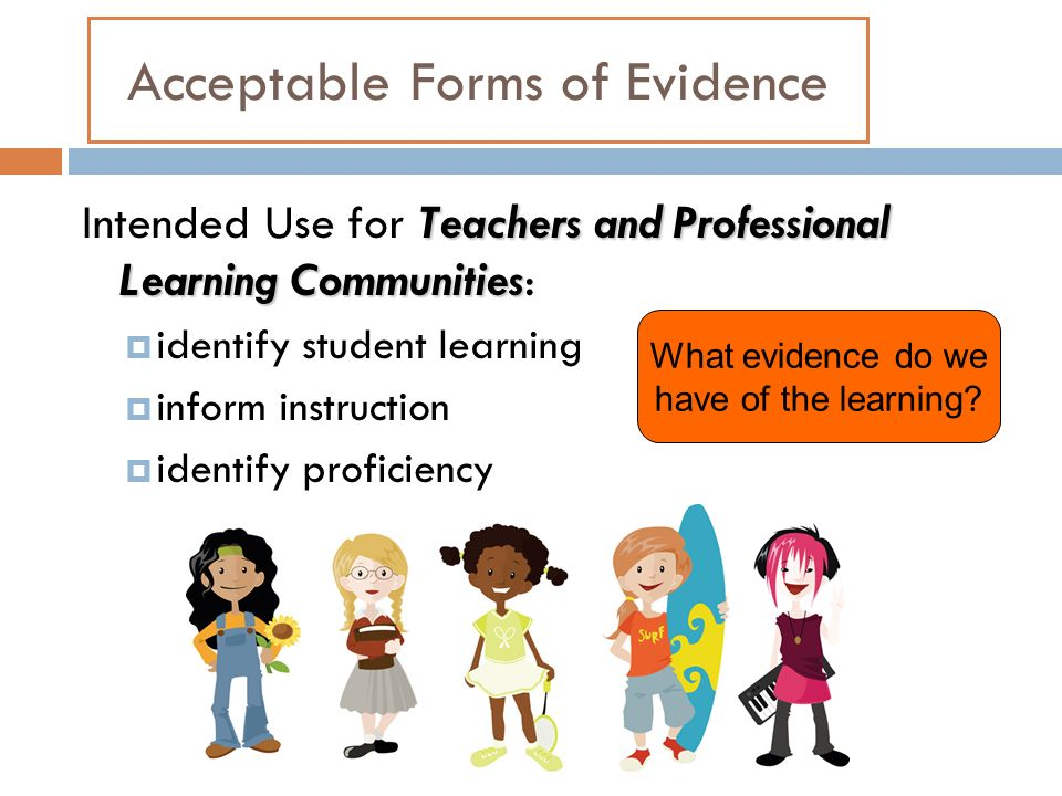 Acceptable Forms of Evidence Teachers and Professional Learning Communities Intended Use for Teachers and Professional Learning Communities: identify