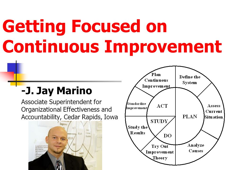 Getting Focused on Continuous Improvement -J. Jay Marino Associate Superintendent for Organizational Effectiveness and Accountability, Cedar Rapids, I