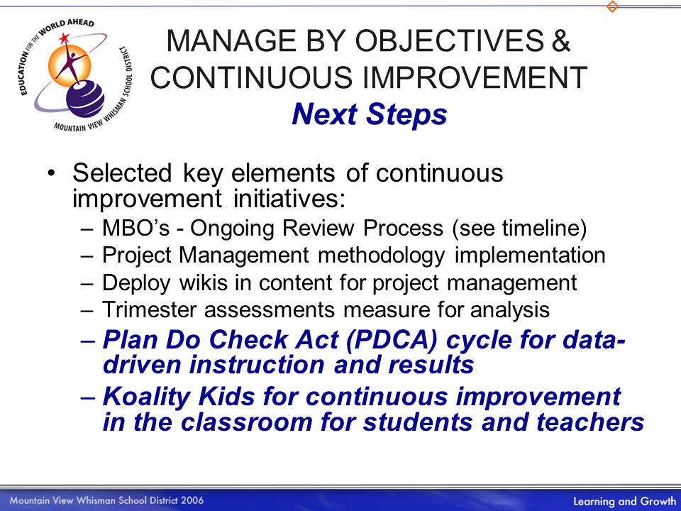 Selected key elements of continuous improvement initiatives: –M–MBOs - Ongoing Review Process (see timeline) –P–Project Management methodology impleme