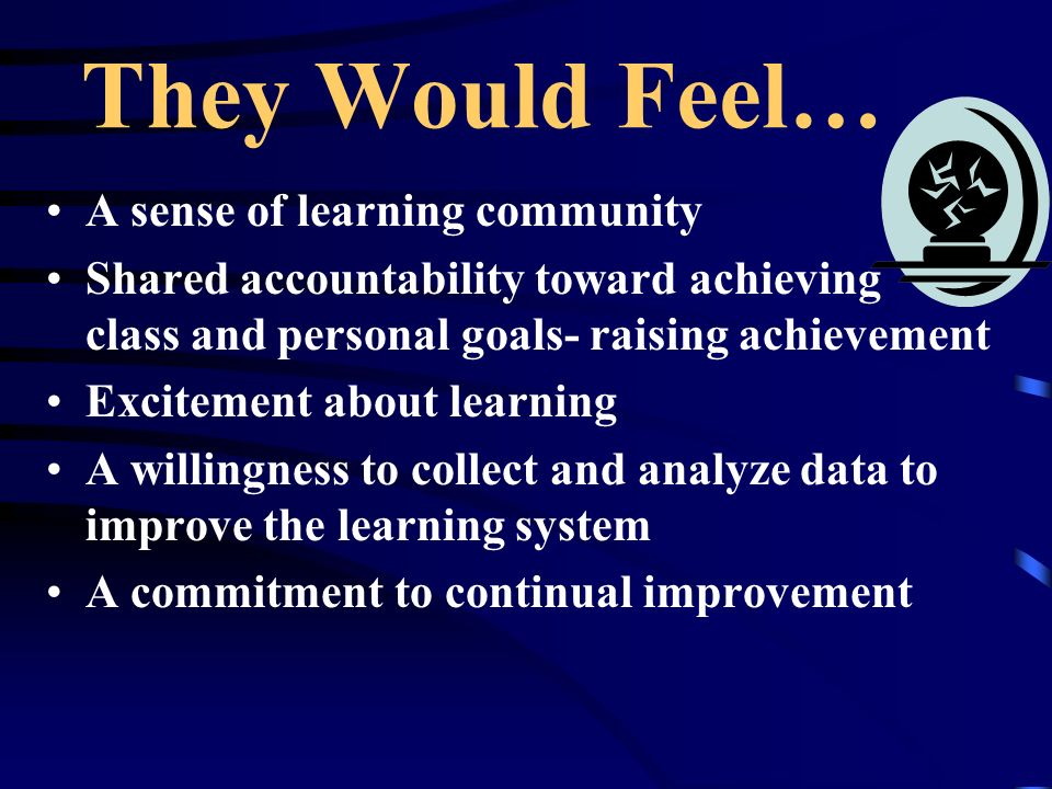 They Would Feel… A sense of learning community Shared accountability toward achieving class and personal goals- raising achievement Excitement about l